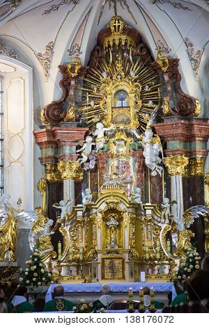 Mount St. Anna Poland - July 4 2016: Altar in the Basilica of the Holy Anna during the unveiling statues of St. Anna. International Shrine of St. Anne on Mount St. Anna in Poland