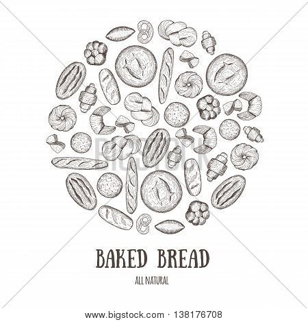 Vector background with bread bakery products. Bakery circle concept. Hand drawn illustrations.