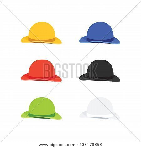 Vector Illustration of Six Colors Bowler or Derby Hat, Flat Style
