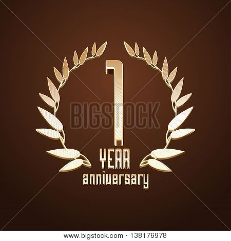1 year anniversary vector logo. 1st birthday age classic decoration design element sign emblem symbol with gold branch