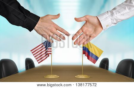 United States and Colombia diplomats shaking hands to agree deal, part 3D rendering