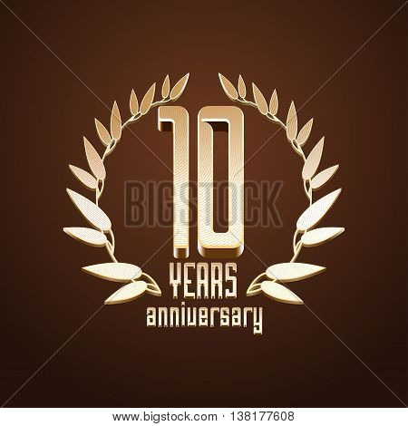 10 years anniversary vector logo. 10th birthday age classic decoration design element sign emblem symbol with gold branch