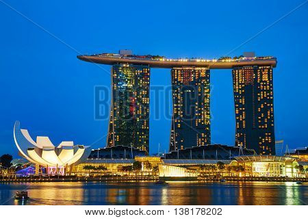 SINGAPORE - OCTOBER 30: Overview of the marina bay with the Marina Bay Sands on October 30 2015 in Singapore.