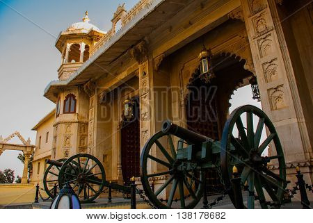 Udaipur City Palace. Guns. Udaipur, India.