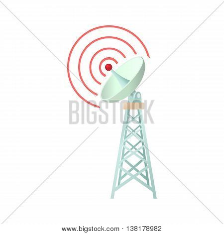 Tower with communication dish icon in cartoon style on a white background