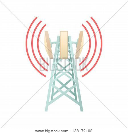 Tower with telecommunications equipment icon in cartoon style on a white background