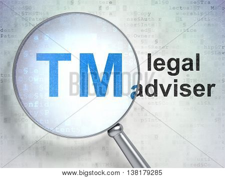 Law concept: magnifying optical glass with Trademark icon and Legal Adviser word on digital background, 3D rendering