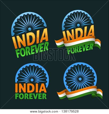 India forever four badges independence day. Patriotic holiday of freedom and democracy. Dark background version.