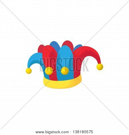 Jester hat icon in cartoon style on a white background