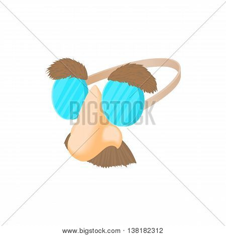 Comedy fake nose mustache, eyebrows and glasses icon in cartoon style on a white background