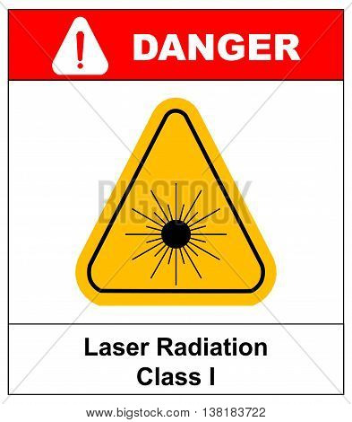 Danger laser radiation Class I symbol in yellow triangle isolated on white with text and exclamation point. Informational banner.