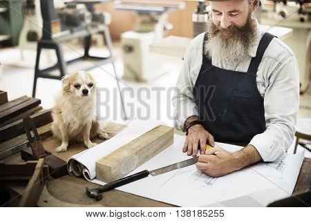 Carpentry Skill Dog Draft Blueprint Craft Design Concept