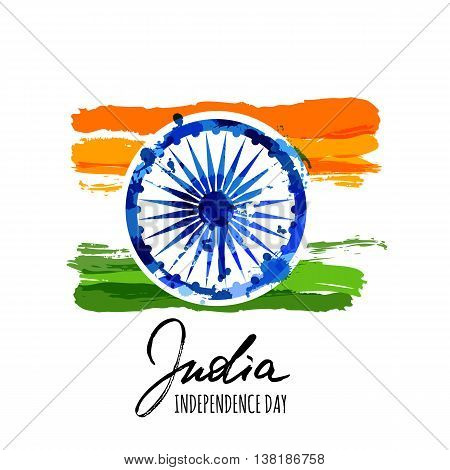 India flag vector isolated illustration with hand drawn calligraphy lettering. India Independence Day watercolor background. Holiday poster with blue ashoka wheel. Design for banner or greeting cards.