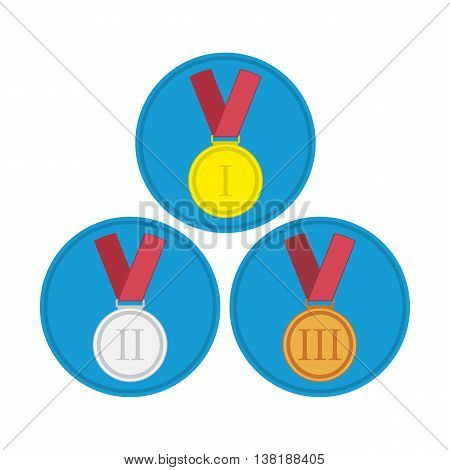 Gold medal. Silver medal. Bronze medal. Isolated medal on the white background in flat style. Medal icon set. Three vector medals gold, silver and bronze. Isolated medal on white background.