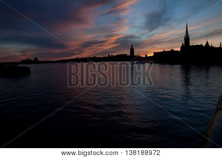 View of the skyline of Stockholm during sunset in June, Sweden