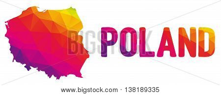 Low Polygonal Map Of Poland  In Warm Colors, Mosaic Abstract Geometry Cartography