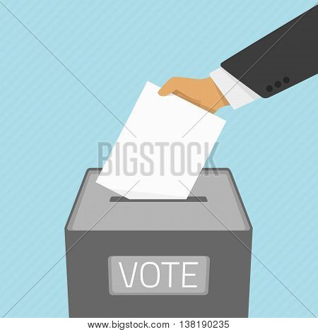 Vector illustration voting concept - hand putting voting paper in the ballot box. Hand casting a vote. Vote ballot in hand with box in flat style.