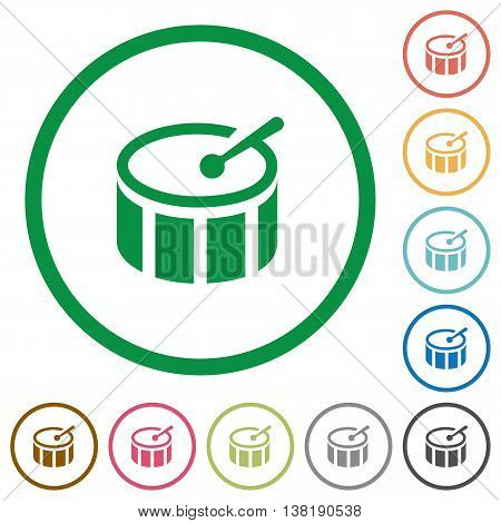 Set of drum color round outlined flat icons on white background