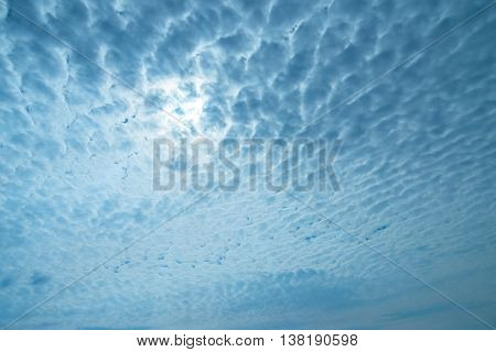 Gorgeous colorful blue skyscape with dramatic clouds