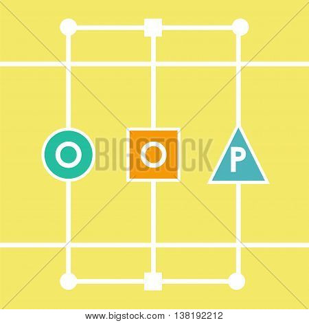 Oop object oriented programming. Vector illustration acronym for object-oriented programming