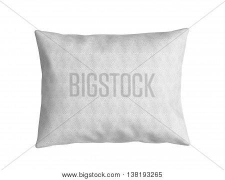 Clasic White Pillow 3D Render On White Background