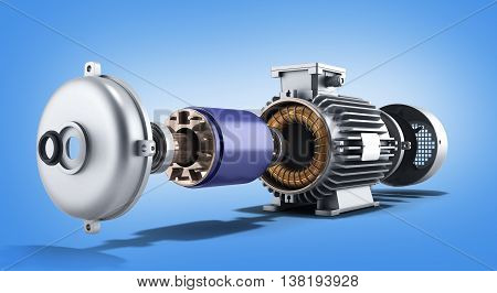 Electric Motor In Disassembled State 3D Illustration On A Gradient Background