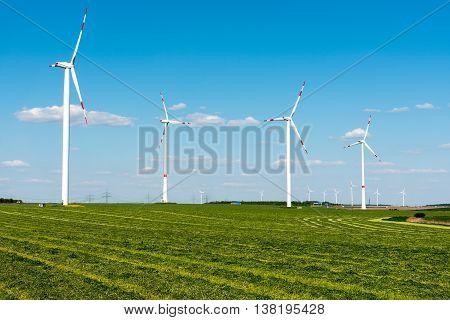 Windwheels in the fields seen in rural Germany