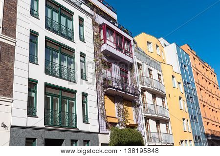 Row of colorful townhouses seen in Berlin