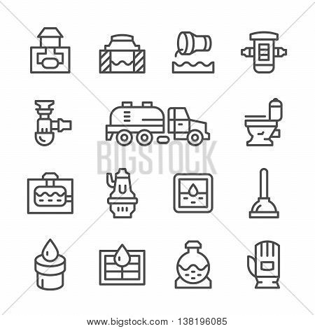 Set line icons of sewerage isolated on white. Vector illustration