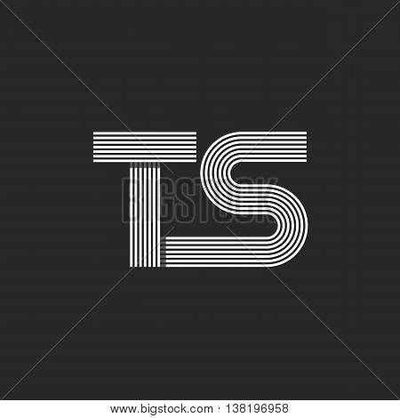 Monogram Letters Ts Logo, Combination Two Letter T And S, Mockup Wedding Invitation Emblem Or Busine