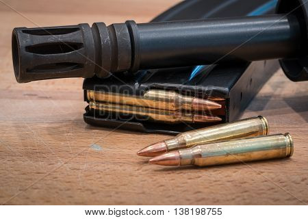 AR 15 Ammunition in Magazine .223 556 Flash Suppressor