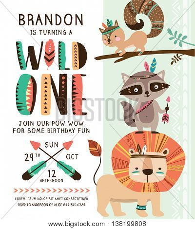 Kids birthday party invitation card with cartoon animals