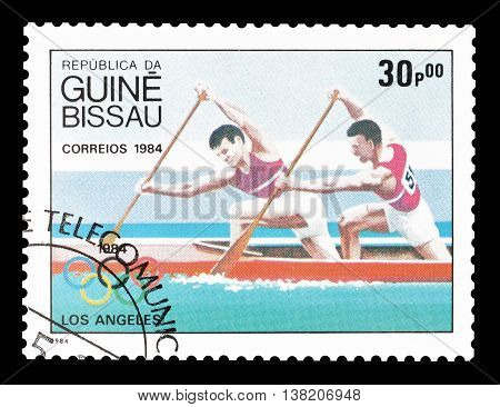 GUINEA BISSAU - CIRCA 1984 : Cancelled postage stamp printed by Guinea Bissau, that shows canoeing.