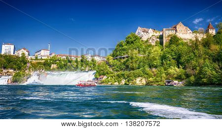 Schaffhausen, Switzerland - May 7, 2016 - View To Rhine Falls (rheinfalls), The Largest Plain Waterf