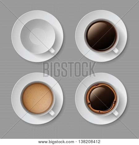 Vector Set of White Coffee Cup Mug with Crema Foam Bubbles Top View Isolated On Background