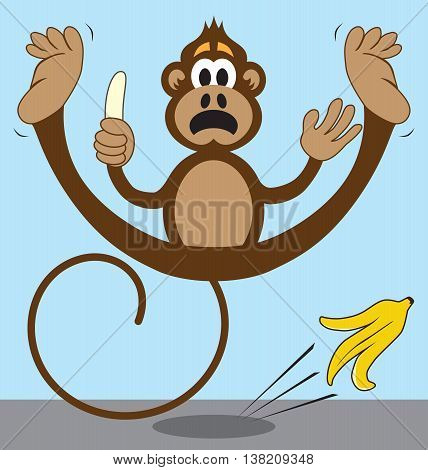 Monkey is slipping on a banana peel that he has just discarded