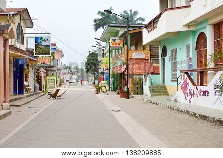 San Ignacio Belize - March 22 2015: The famous Burns Avenus is seen early in the morning before all the local business are open for tourists in San Ignacio Belize