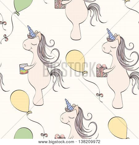 Seamless unicorn pattern can be used for wallpaper, website background, wrapping paper. Unicorn bright pattern . Holliday design. Bithday concept