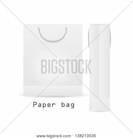 Two WhitePaper bag with rope Packaging ready for your design. Shoping product packing vector illustration