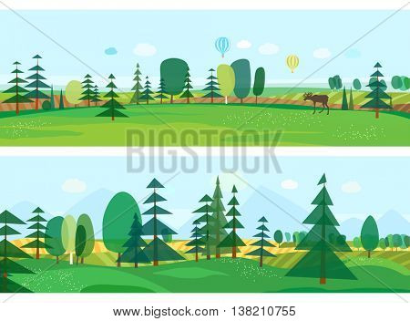 Eco style life. Abstract forest. Wildlife. Forest view