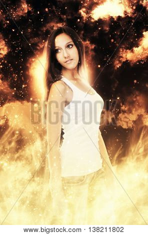 Cute single grinning woman in sleeveless white undershirt surrounded by flames and sparks looking away