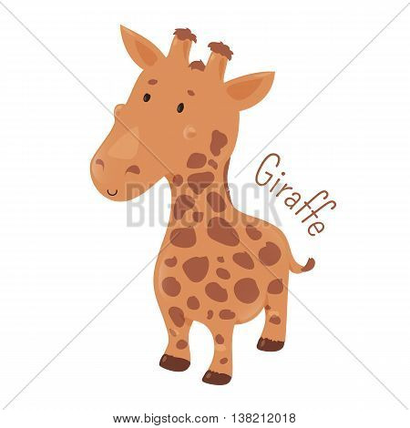 Giraffe isolated. Giraffa camelopardalis. African even-toed ungulate mammal, the tallest terrestrial and largest ruminant. Part of series of cartoon savannah animal species. Child fun icon. Vector