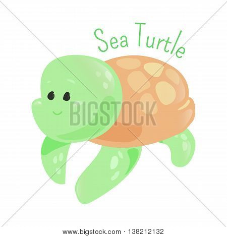 Sea turtle isolated on white background. Superfamily Chelonioidea. Part of series of cartoon sea creature species. Marine animals. Sticker for kids. Child fun pattern icon. Vector illustration