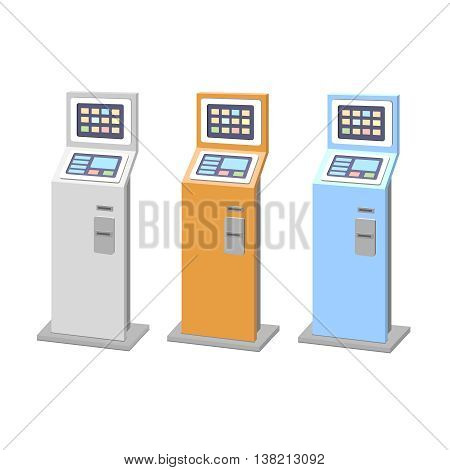 Payment terminals set. isolated stationary kiosk for electronic payments. Vector