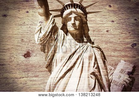 Statue Liberty Mew York wooden - textured background