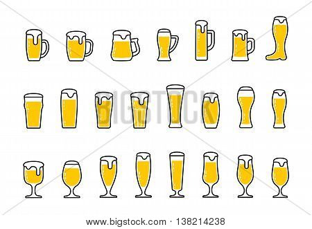 Vector set icons of beer with foam in mugs and glasses