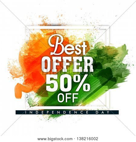 Best Offer Sale and Discount, Sale Poster, Banner, Flyer, 50% Off with Saffron and Green colour brush stroke for Indian Independence Day celebration.