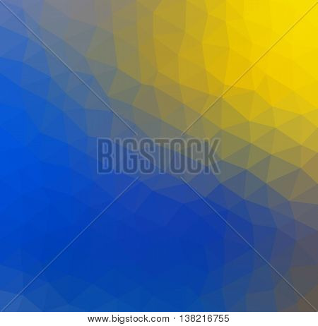 Abstract low poly geometric vector background of blue and yellow triangular polygons representing the sky and the sun. Cell phone background.