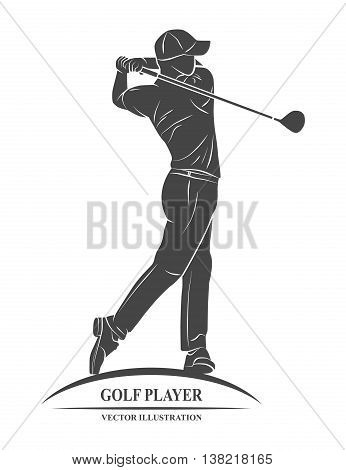 Icon golf player on a white background. Vector illustration.
