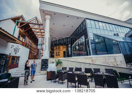 Sarajevo Bosnia and Herzegovina - August 23 2015. Glass and marble building of Gazi Husrev-beg public library in Sarajevo